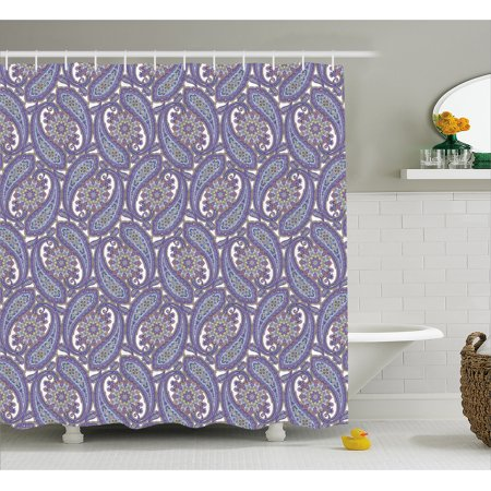 Paisley Decor Shower Curtain Indian Floral Ornamental Patterned Design With Raindrop Shaped Artwork Fabric Bathroom Set Hooks 69W X 75L Inches Long