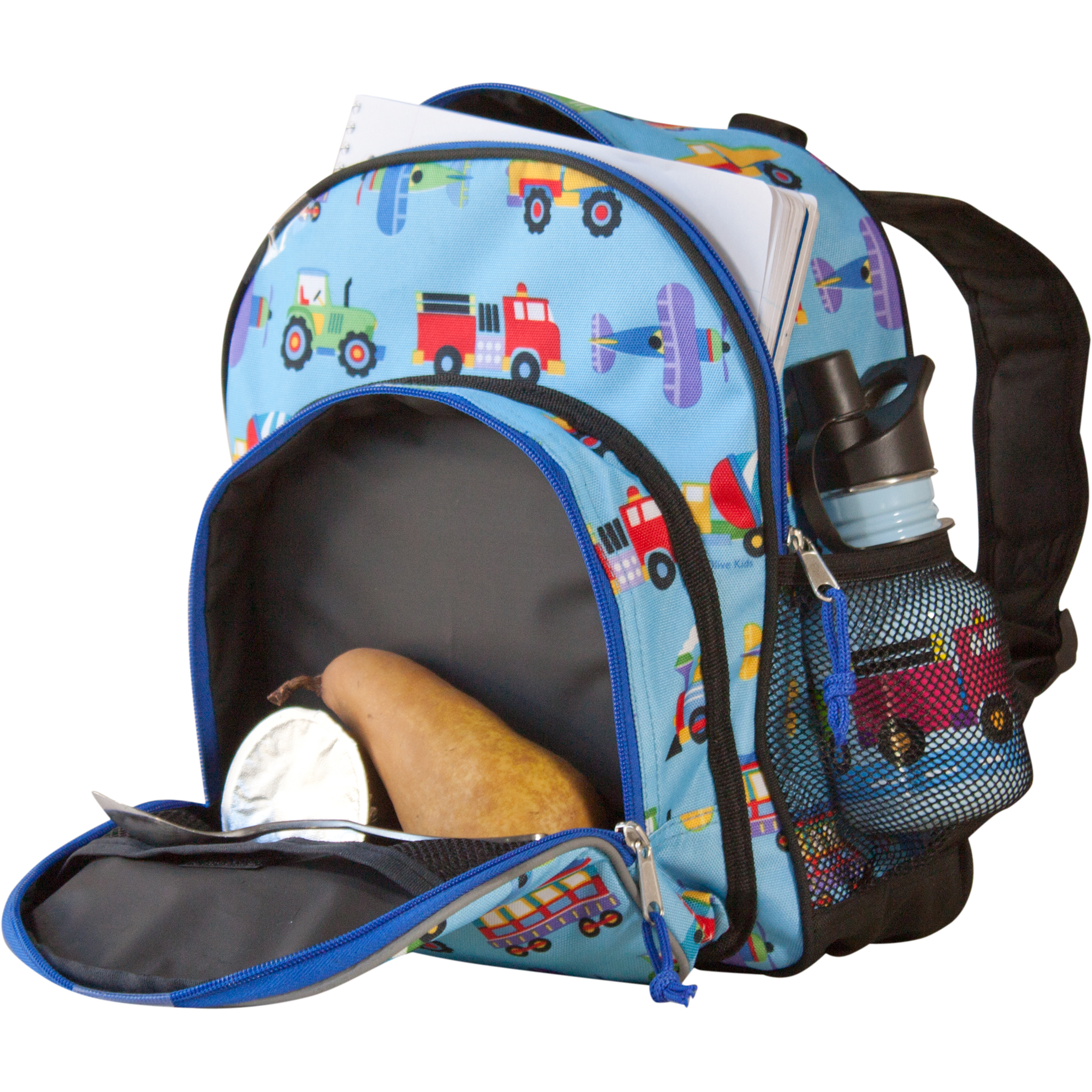 Boys Blue Back Pack Train Plane Truck Toddler Snack School Bag Kids Children New