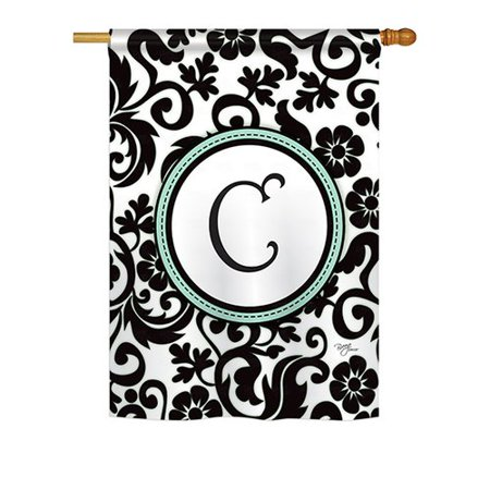 Breeze Decor Damask Monogram 2-Sided Vertical Flag ()