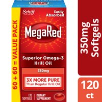 MegaRed Krill Oil Omega-3 Softgels, 350 mg, 120 ct