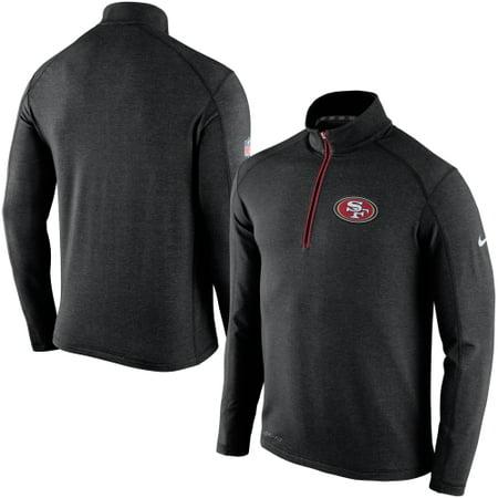 San Francisco 49ers Nike Game Day Half-Zip Knit Performance Tri-Blend Jacket - Black (Nike Knit Jacket)