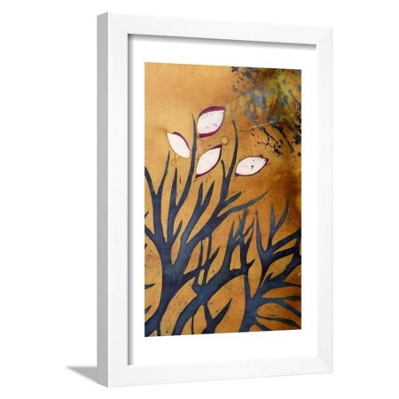Tree Branches with Leaves on Gold Background, Hot Batik, Background Texture, Handmade on Silk, Abst Framed Print Wall Art By Sergey Kozienko