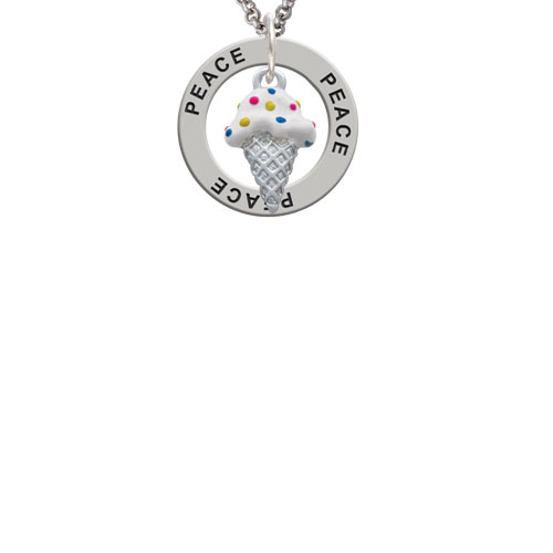 2-D Vanilla Ice Cream Cone with Sprinkles Peace Affirmation Ring Necklace