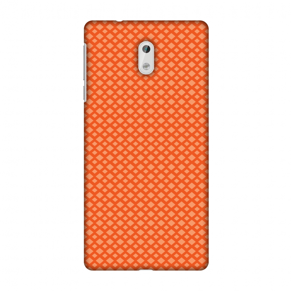 Nokia 3 Case, Premium Handcrafted Printed Designer Hard ShockProof Case Back Cover with Screen Cleaning Kit for Nokia 3 - Carbon Fibre Redux Tangy Orange 7