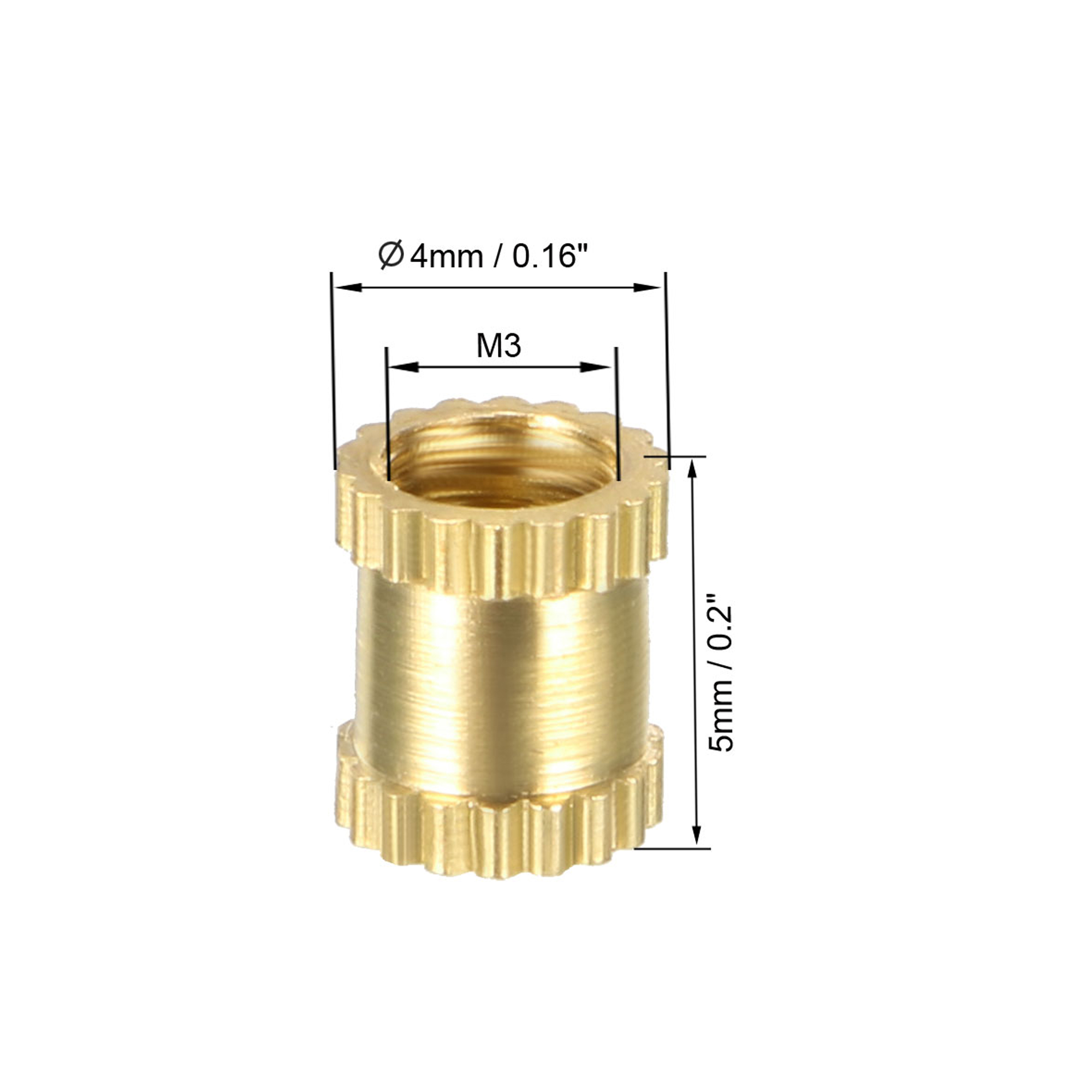 knurled Threaded Insert Pack of 10 Brass Insert Nuts with Female Thread M3 x 5 mm L x 4 mm OD