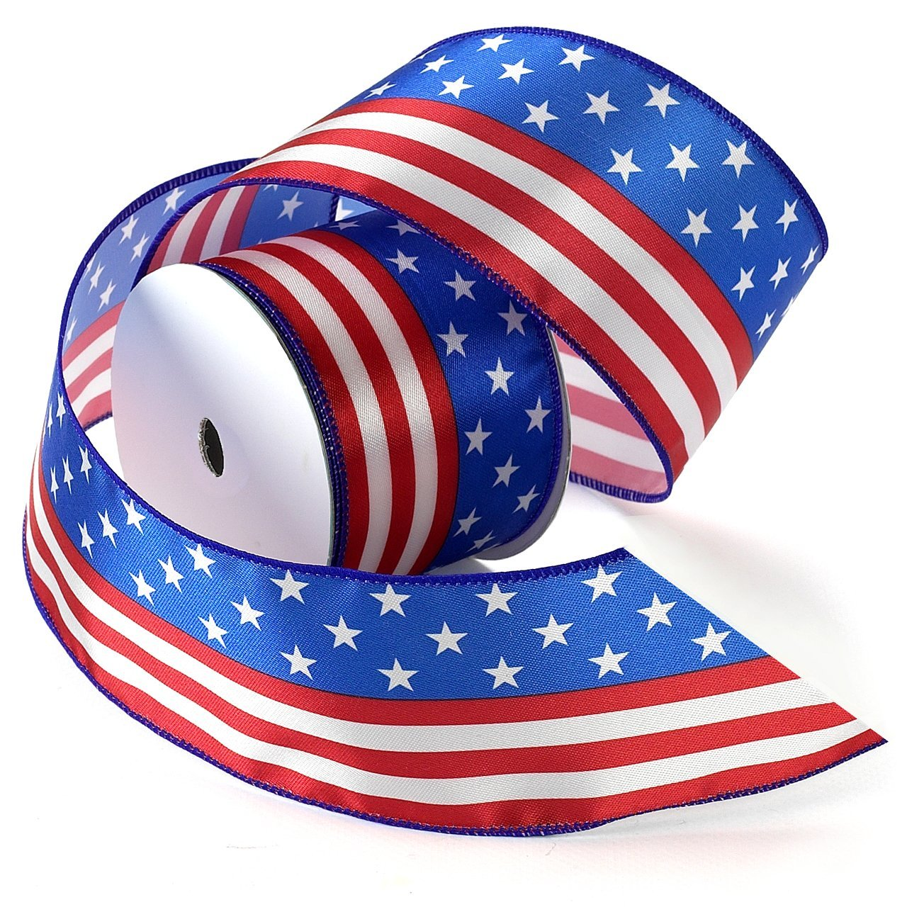 3//8-Inch by 5-Yard Morex Ribbon Betsy Ross Printed Satin Ribbon Spool Red//White//Blue