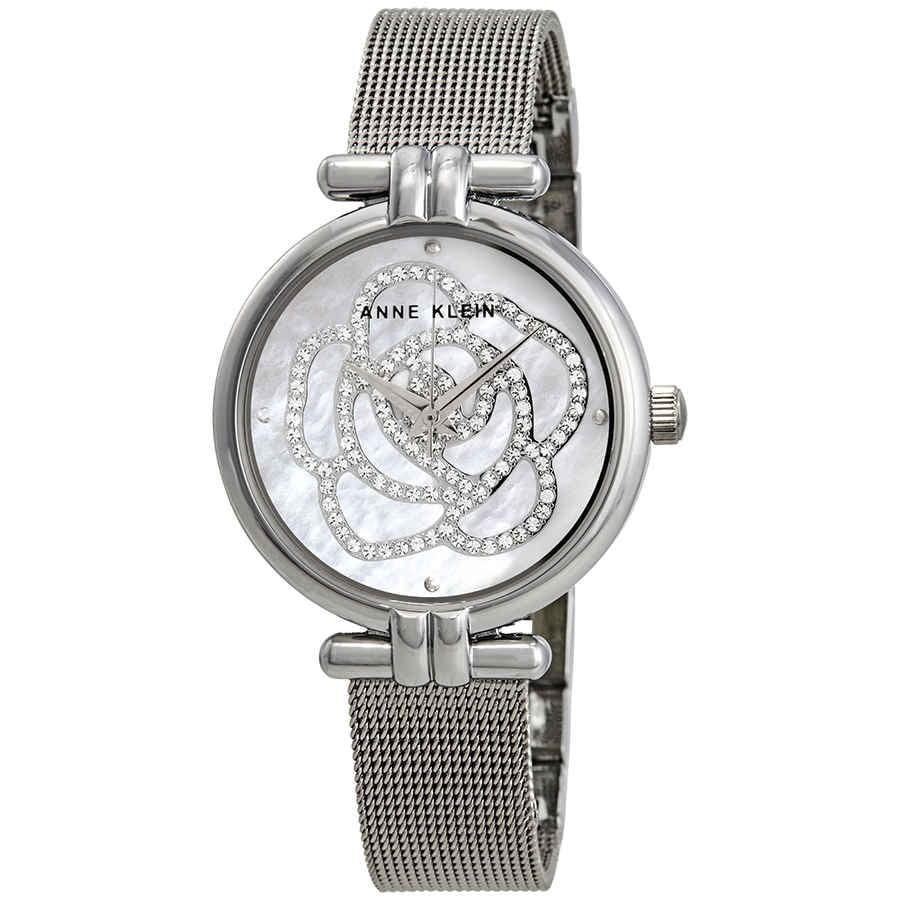 Anne Klein Mother of Pearl Swarovski Crystal Flower Dial Ladies Watch 3103MPSV