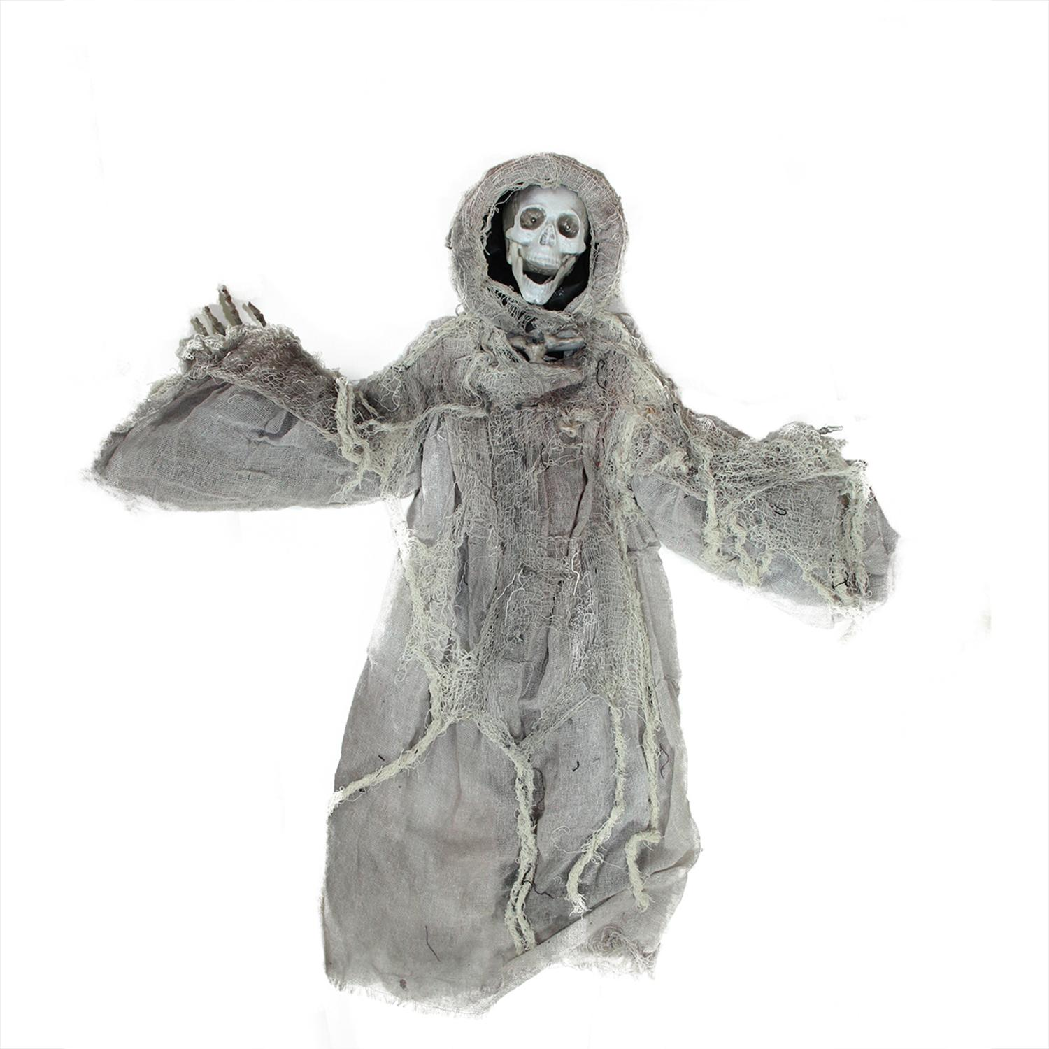 "36"" Touch Activated Lighted Gray Death Reaper Hanging Halloween Decoration with Sound"