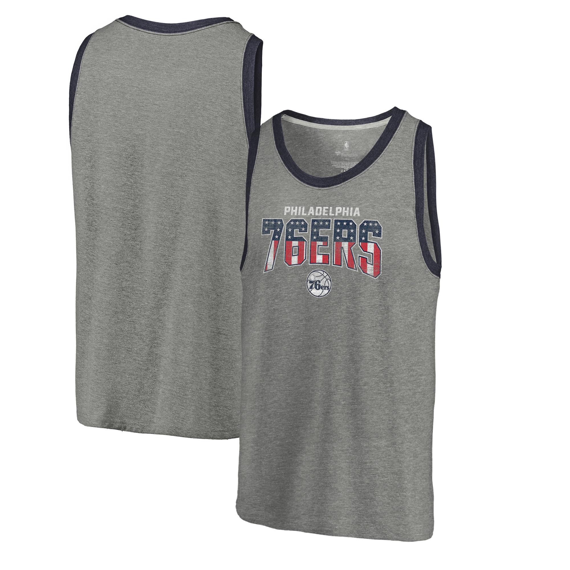 Philadelphia 76ers Fanatics Branded Freedom Tri-Blend Tank Top - Heathered Gray