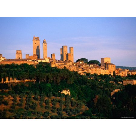 Trees and Buildings of Town at Sunrise, San Gimignano, Tuscany, Italy Print Wall Art By John Elk