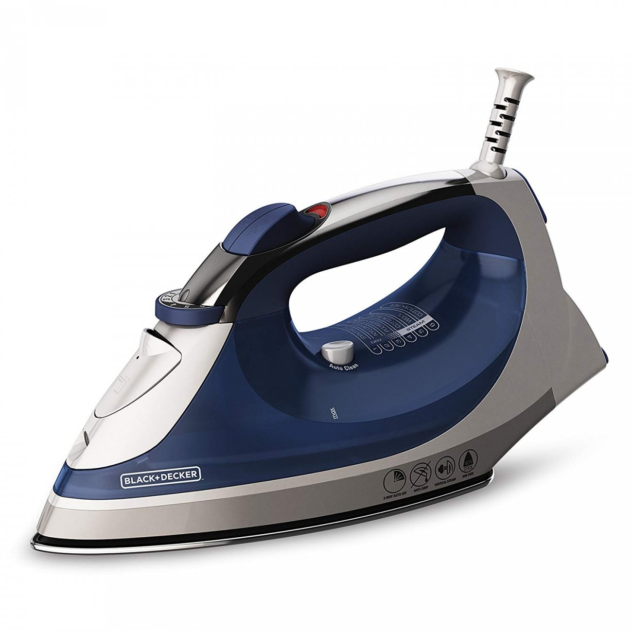 Corded Stainless Steel Heavy Duty Steam Iron With Smart Steam Settings, Blue