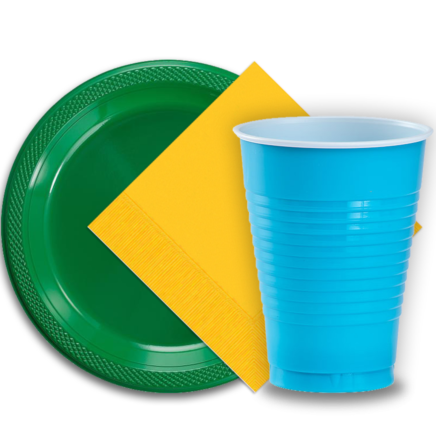 """50 Emerald Green Plastic Plates (9""""), 50 Aqua Plastic Cups (12 oz.), and 50 Yellow Paper Napkins, Dazzelling Colored Disposable Party Supplies Tableware Set for Fifty Guests."""