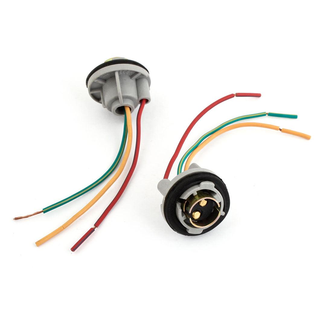 1157 Bulb Socket Brake Turn Signal Light Harness Wire LED Tail Plug 2 Pcs