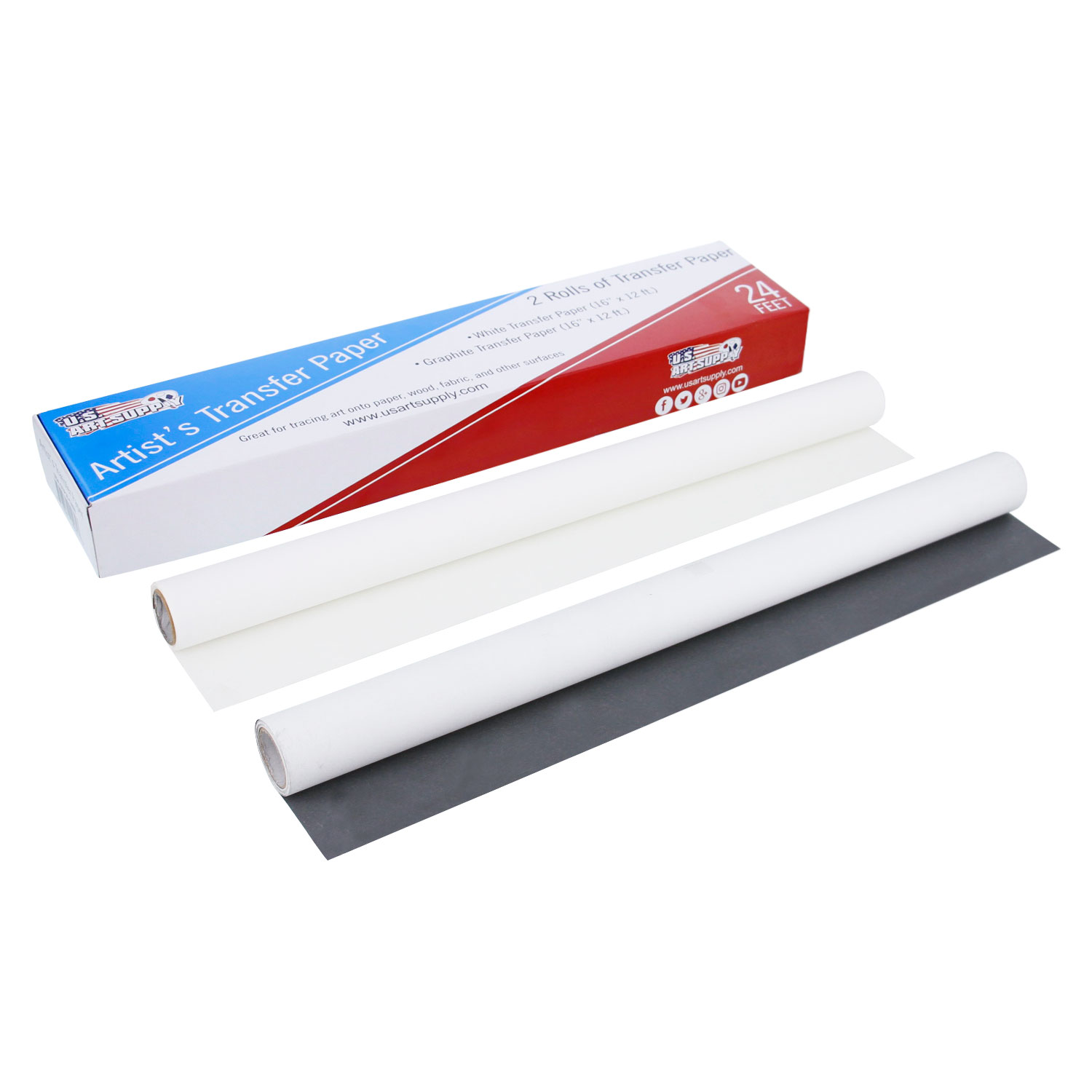 "U.S. Art Supply White & Graphite Transfer Paper Rolls, 16"" Wide x 12ft Long - Tracing Paper for all Art Surfaces"