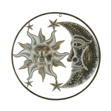 Distressed Metal Art Celestial Sun and Moon Indoor Outdoor Wall - Metal Sun Sculpture