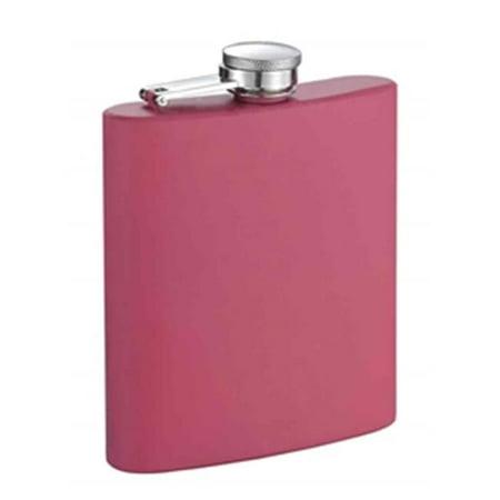 Flamingo 6 Ounce Pink Coated Stainless Steel Flask Baseball 6 Ounce Flask