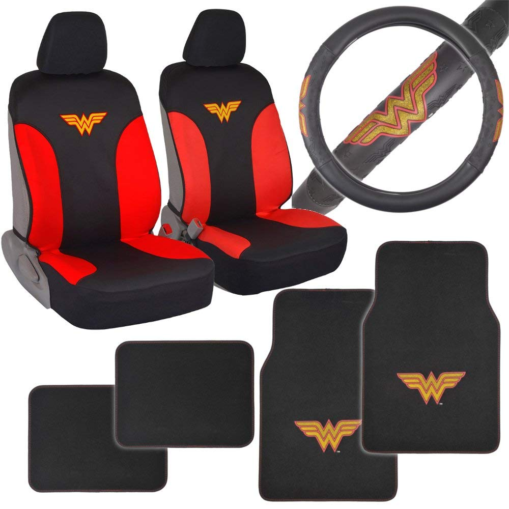 Wonder Woman Auto Accessories Combo Pack - Waterproof Seat Covers, Synth Leather Steering Wheel Cover & 4 Piece Car Floor Mats for Car SUV Van Truck
