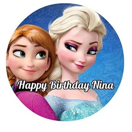Frozen Birthday Cake Ideas (Frozen Elsa Anna Edible Image Photo Cake Topper Sheet Personalized Custom Customized Birthday Party - 8 Inches Round -)