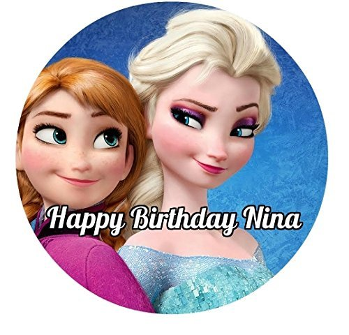 Frozen Elsa Anna Edible Image Photo Cake Topper Sheet Personalized Custom Customized Birthday Party - 8 Inches Round - 77861