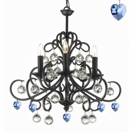 - Bellora Crystal Wrought Iron Chandelier Empress Crystal (TM) with Faceted Crystal Balls And Blue Hearts