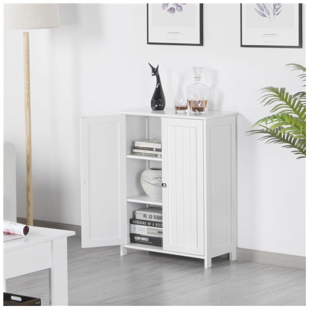 Topeakmart Free Standing Floor Cabinet Home Storage Cabinet with 2 Durable Doors and 2 Adjustable Shelves White