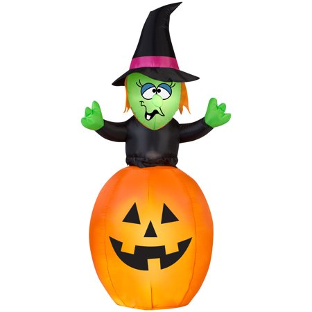 5.5' Airblown Springing Witch in Pumpkin Halloween Inflatable (First Halloween Pumpkin)