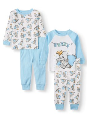 Dumbo Baby Girl Long Sleeve Cotton Snug Fit Pajamas, 4-Piece Set