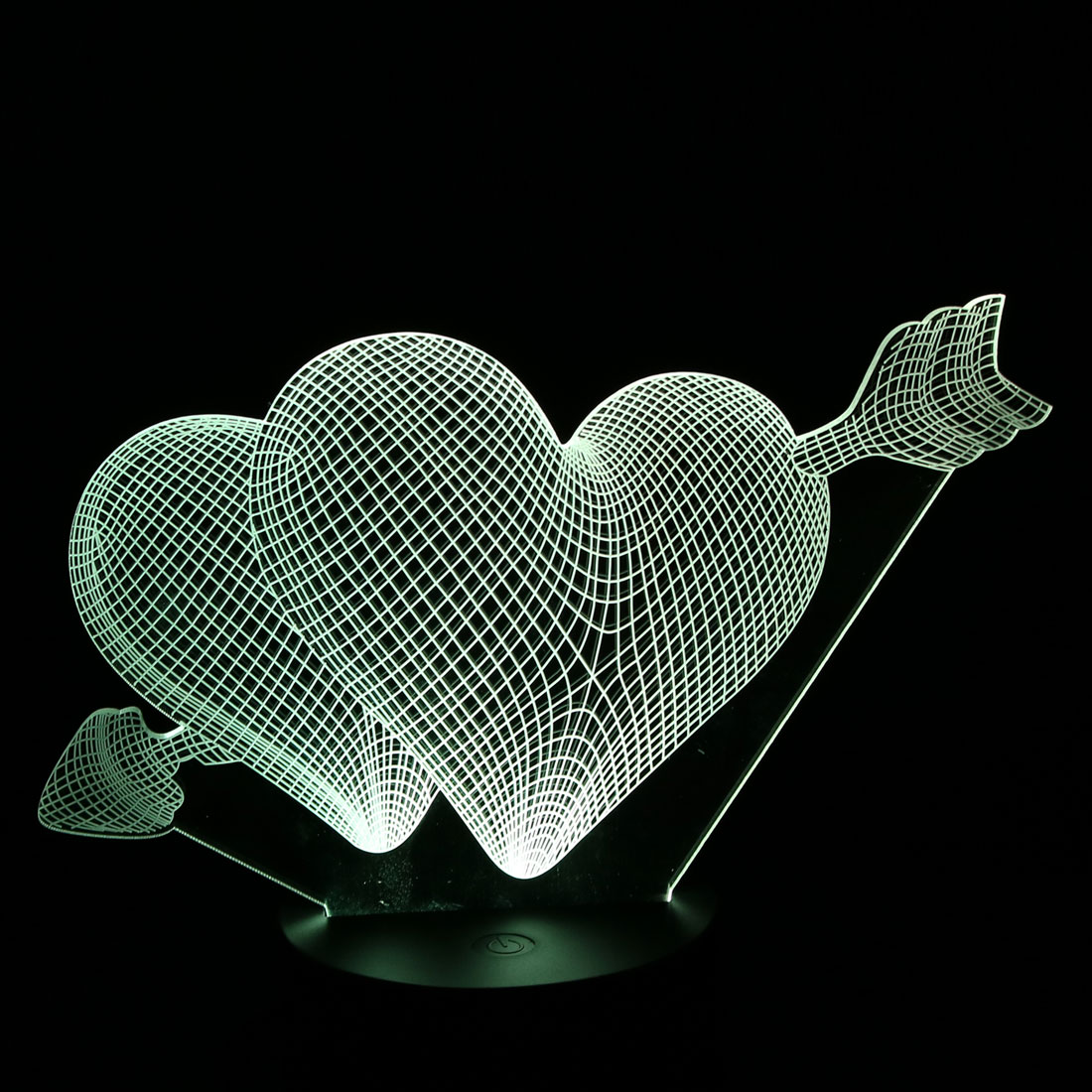 DC 5V Cupid Arrow 3D Acrylic LED Night Light 7 Color Change Desk Table Lamp - image 6 of 7