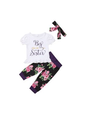 c8d67aea6a39 Product Image Sister Matching Big Little Sister Girl T-shirt Romper Top+  Floral Pants Outfit Set Clothes