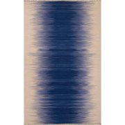 8' x 10' Dark Blue, Lavender & Cream Tinge Flat-Weave Striped Hand Made Wool Area Throw Rug