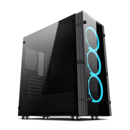 - Aigo Atlantis ATX Mid-Tower Desktop Computer Gaming Case Tempered Glass Windows With 3pcs 120mm LED Ring Fans Ice Blue Ring Fans Pre-installed