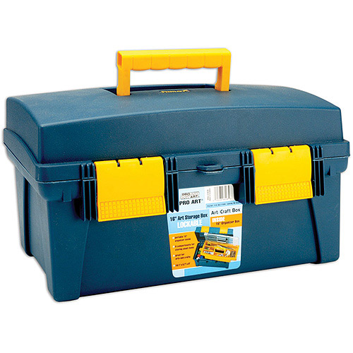 "Pro Art Storage Box With Inner Tray 16""x8.9""x8.6"", Blue/Yellow"