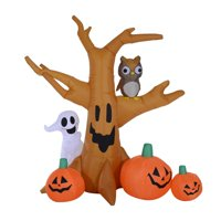 HomCom 7.5-ft Tall Inflatable Haunted Tree w/Owl / Ghost / Pumpkins Deals