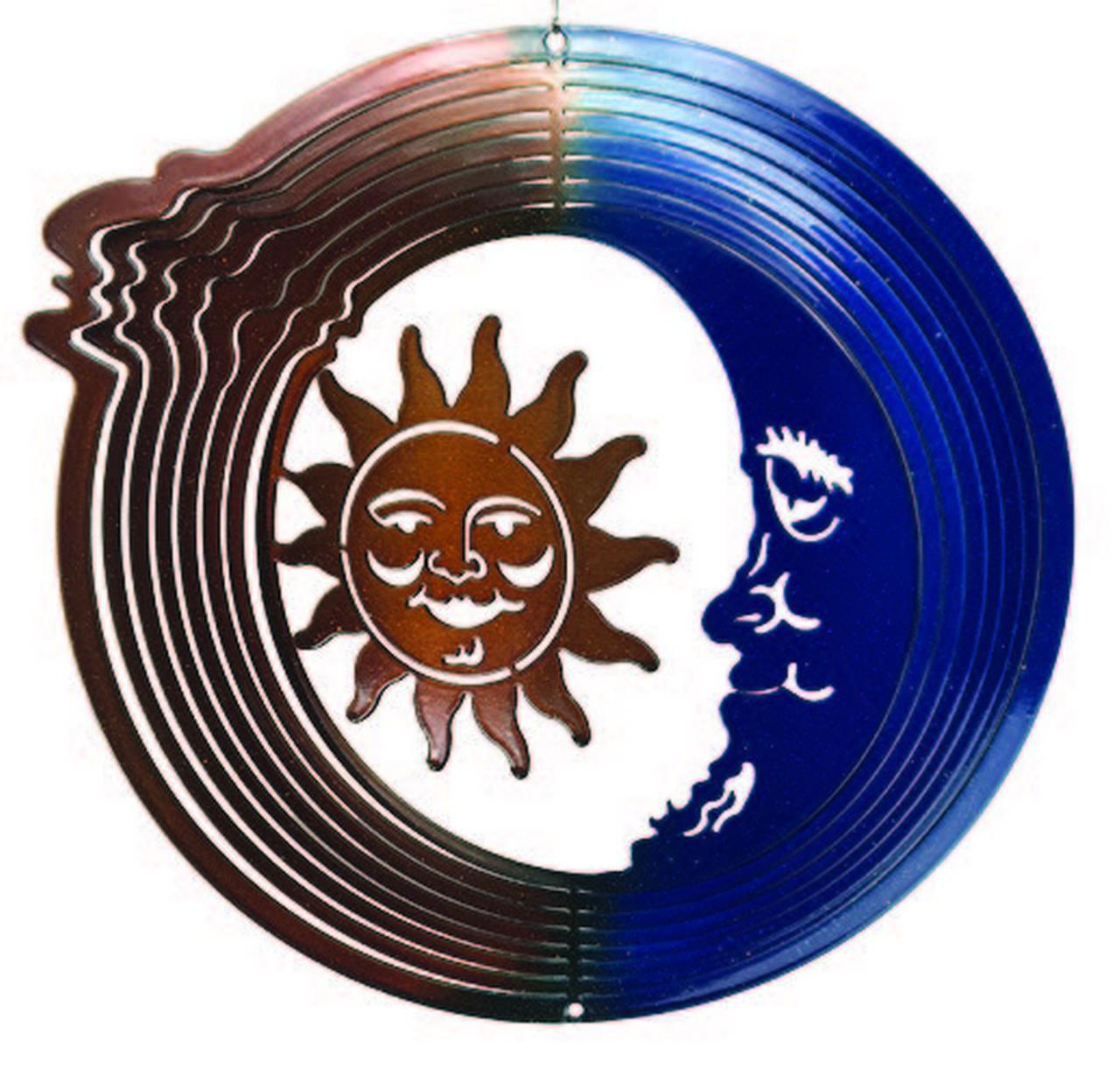 Garden Wind Spinner Medium Sun Moon Blue Copper Wind Spinner by Next Innovations