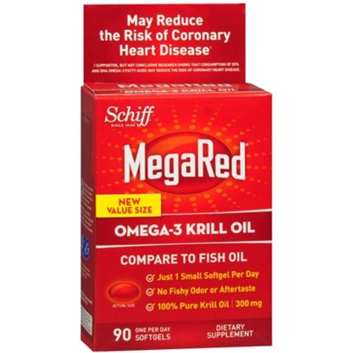 Schiff MegaRed Omega-3 Krill Oil Softgels 90 ea (Pack of 3)