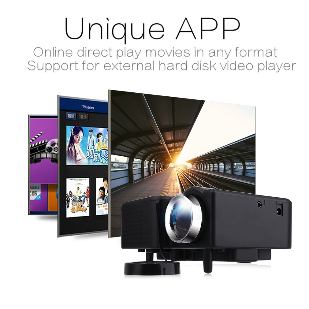 Multimedia Home Theater Mini Projector with HDMI, AV, VGA Inputs Home 1080p Projector Black