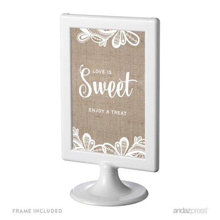 Love Is Sweet, Enjoy A Treat Burlap Lace Wedding Framed Party Signs - Burlap And Lace Wedding Decorations