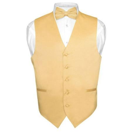 Men's Dress Vest & BowTie Solid GOLD Color Bow Tie Set for Suit or Tuxedo (Bow Tie With A Vest)