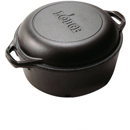 lodge cast iron 5 quart double dutch oven l8dd3. Black Bedroom Furniture Sets. Home Design Ideas