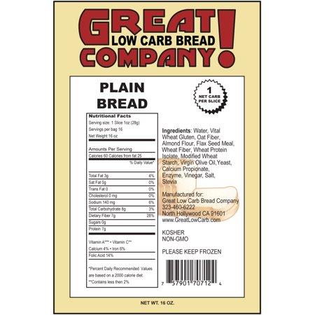 Great Low Carb Bread Company - 1 Net Carb, 16 oz, Plain