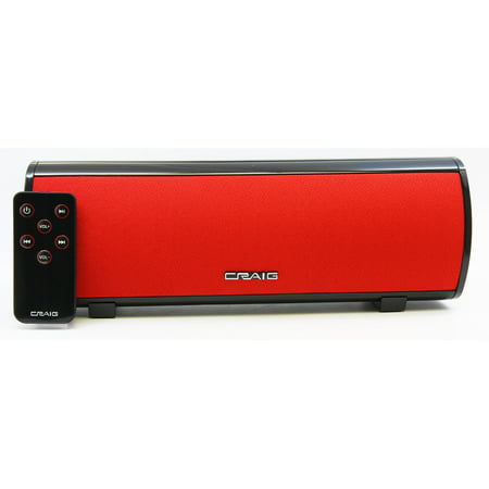 Craig Stereo Speaker Bar with Bluetooth Wireless Technology-RED