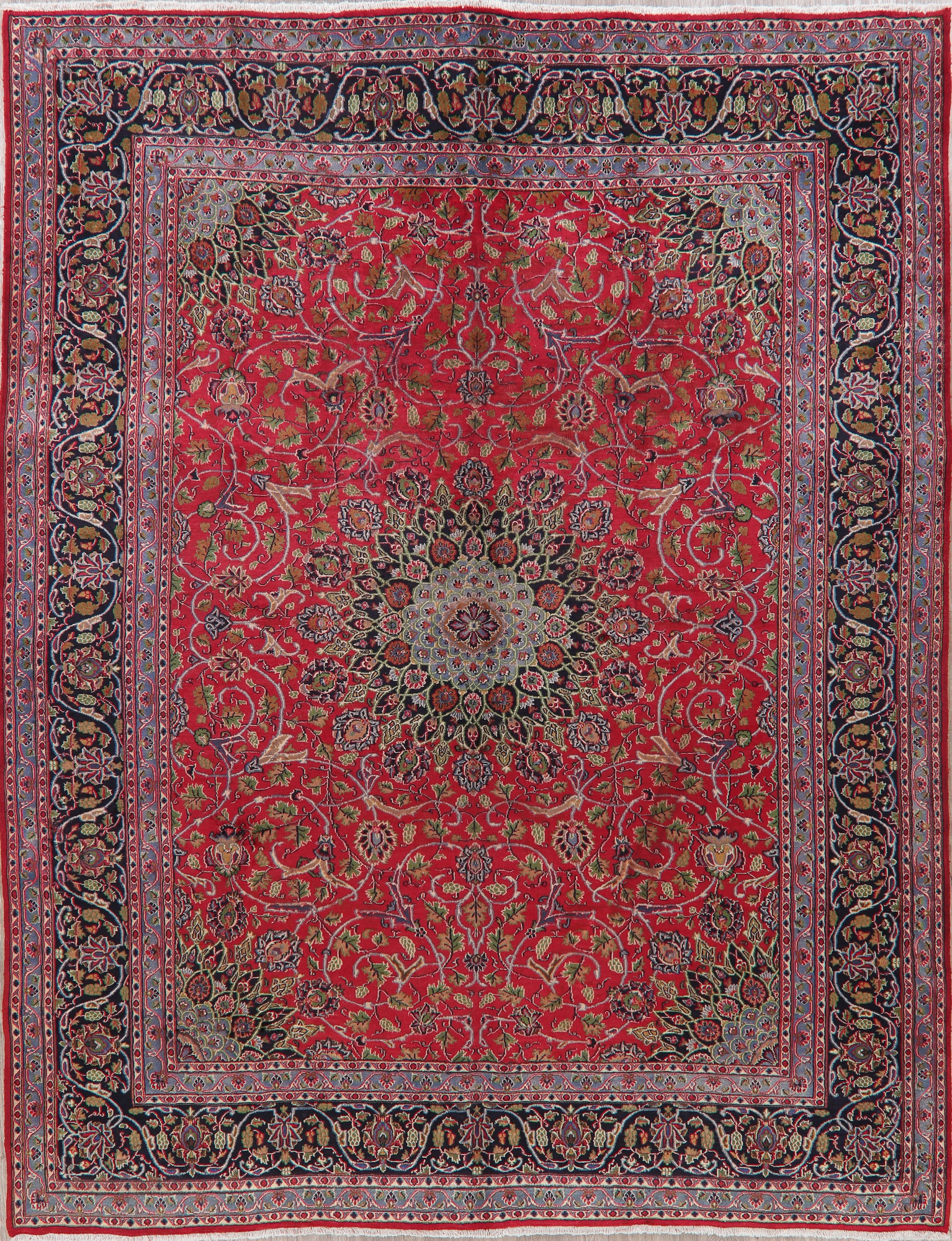 Rugselect Medallion Hand Knotted Carpet Kashmar Red Wool