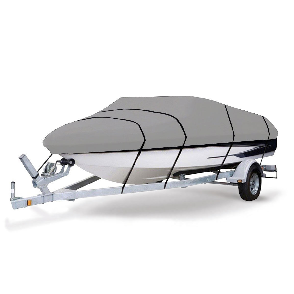 Gymax Heavy Duty 600D Marine Grade Polyester Canvas Trailerable Waterproof Boat Cover