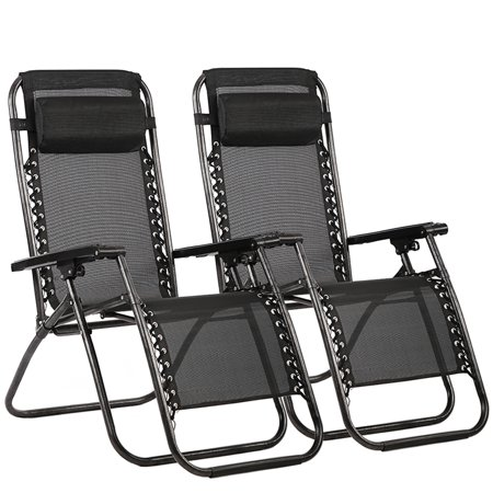 Outdoor Zero Gravity Chairs with Adjustable Pillow, 2 Pack, Black ()