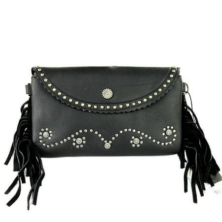 Genuine Leather Clutch Crossbody Shoulder Handbag Built in Wallet (Black Studded Concho w Fringe)