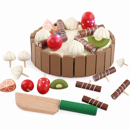 Akoyovwerve DIY Birthday Party Fruit Cake Toys Simulation Pretend Food Playset Education Cutting Food Toy for Children Boys Girls - Boys Food