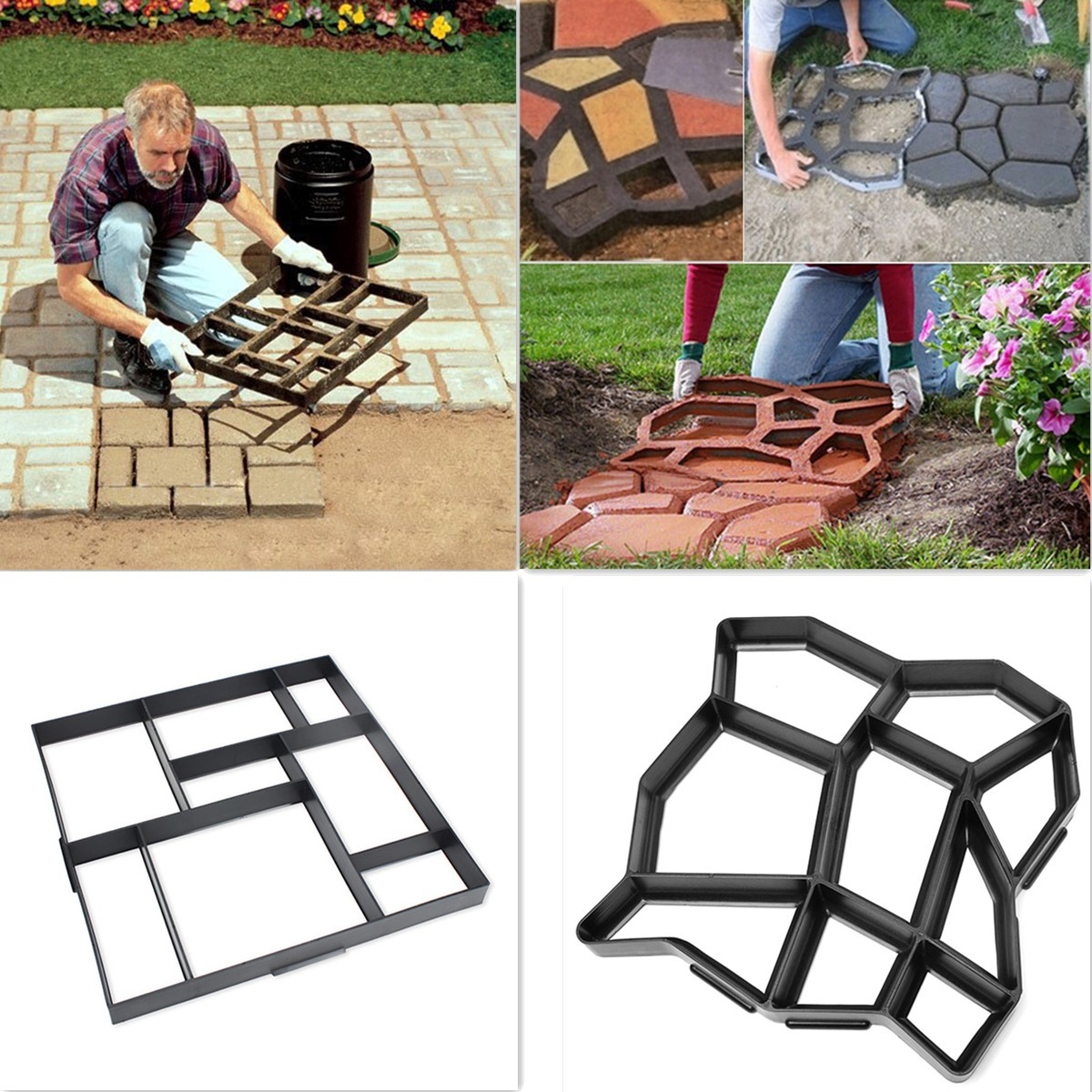 Meigar Stepping Walk Path Maker Mold,Garden Paving Pavement Concrete Mold DIY Pathmate Stone Mold Outdoor Patio Decorative Stepping Stone Mould Pavement Paver