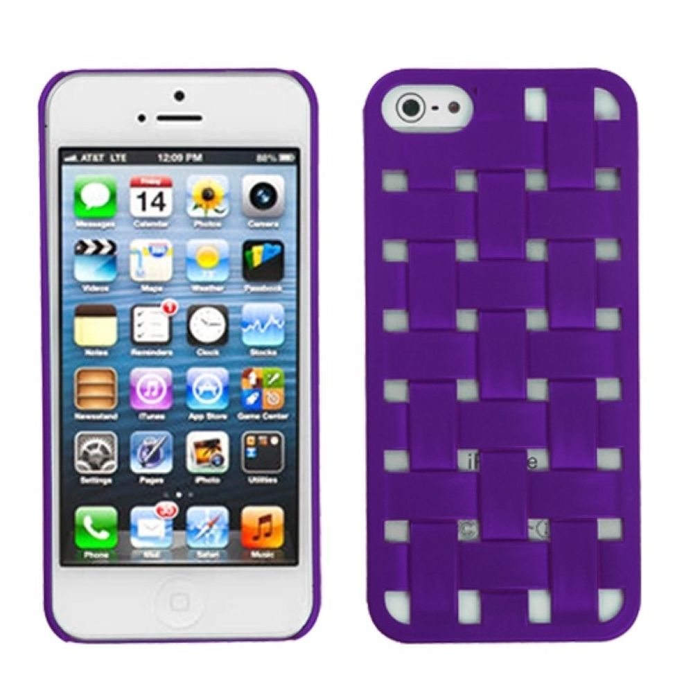 Insten Weave Hard Cover Case For Apple iPhone 5/5S/SE - Red