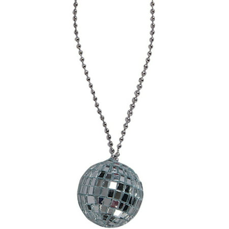 Disco Jewelry Accessories (Silver 70s Bling Disco Ball Chain Necklace Costume)