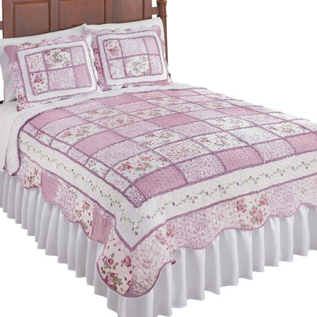 Floral Scallop - Reversible Patchwork Classic Floral Quilt with Scalloped Border, Twin, Rose